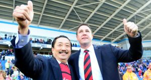 Cardiff City chairman Vincent Tan (left) and manager Malky Mackay. Photograph: Adam Davy/PA Wire