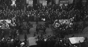 'The lock of hair belonged to Muriel MacSwiney, widow of Terence MacSwiney, the lord mayor of Cork who died on hunger strike in Brixton Prison on October 25th, 1920.' Above, Terence MacSwiney's funeral procession in London on October 28th, 1920. His remains were brought back to Cork for burial. Photograph: Topical Press Agency/Getty Images