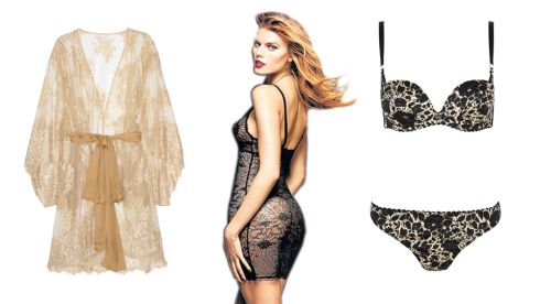 Nudita Ricca lace robe, €964.25 (incl p+p), net-a-porter.com Black opera chemise, €105, Chantelle at Arnotts. 'Brigitte' floral balcony bre, €59, thong, €33 BIBA at House of Fraser.
