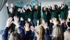 Performing artist Amanda Coogan (far left) working with pupils of St Mary's School for Deaf Girls during their No Pens Day. Photograph: Alan Betson