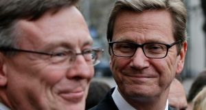German foreign minister Guido Westerwelle (right) and his Ukrainian counterpart Leonid Kozhara in Kiev. Mr Westerwelle warned yesterday that time is  running out for Ukraine to be ready to sign landmark deals with the EU next month.  Photograph: Gleb Garanich/Reuters