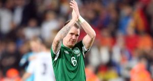 Glenn Whelan after the defeat to Germany in Cologne. Photograph: Donall Farmer/Inpho