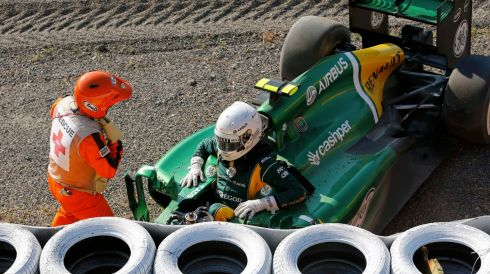 Caterham Formula One driver Giedo van der Garde of Netherlands about to leave his car after crashing. Photograph: Issei Kato/Reuters