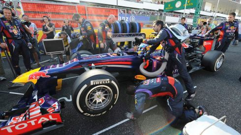 Red Bull driver Sebastian Vettel of Germany takes the second starting grid ahead of the Formula One Japanese Grand Prix in Suzuka. Photograph: Toshifumi Kitamura/Reuters
