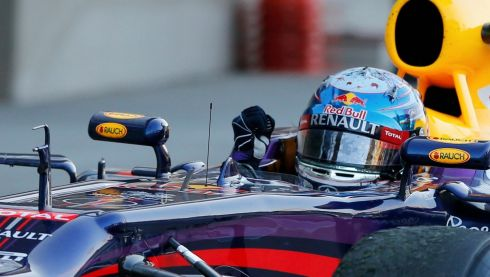 Red Bull Formula One driver Sebastian Vettel of Germany arrives at the parc ferme after winning the Japanese F1 Grand Prix at the Suzuka circuit.  Photograph: Issei Kato/Reuters