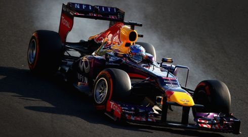Sebastian Vettel of Germany and Infiniti Red Bull Racing on his way to winning the Japanese Formula One Grand Prix at Suzuka Circuit. Photograph: Clive Mason/Getty Images