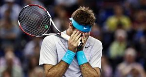 Juan Martin Del Potro of Argentina was beaten in three sets by Novak Djokovic. Photograph: Aly Song/Reuters