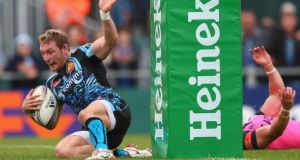 Matt Jess of Exeter Chiefs  scores a try during the Heineken Cup Pool Two match against Cardiff Blues at Sandy Park. Photograph:   Michael Steele/Getty Images