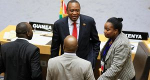 Kenya's President Uhuru Kenyatta  talks to Kenyan delegates about Africa's relationship with the International Criminal Court, in Ethiopia's capital, Addis Ababa, at the weekend.  Photograph: Tiksa Negeri/Reuters