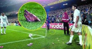 Figo's transfer from Barcelona to Real Madrid prompted a fan to throw a pig's head towards the player when the sides met.