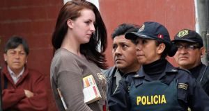 Michaella McCollum  is escorted from a truck to court at Sarita Colonia prison in Callao, earlier this month. Photograph: Mariana Bazo/Reuters