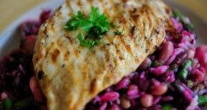 Mixed Beans, beetroot and chilli marinated chicken escalapes. Photograph: Aidan Crawley