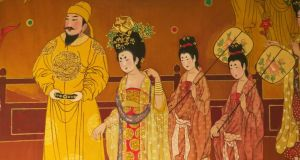 Painting of Tang Dynasty emperor with concubines. photograph: keren su/china span