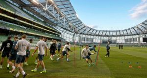 Robbie Keane and the Republic of Ireland players training in the Aviva Stadium this evening. Photograph: Morgan Treacy/Inpho