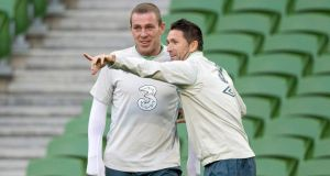 Richard Dunne (left) and captain Robbie Keane during a training session at the Aviva Stadium. Photograph: Morgan Treacy/Inpho
