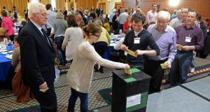 Voting taking place at aConvention on the Constitution meeting in Malahide, Co  Dublin.
