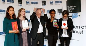 Colm Tóibín with fellow Booker short-listees. Photograph: Olivia Harris/Reuters