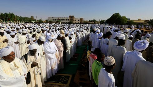 Muslims gather to pray during Eid Al-Adha prayers in Omdurman, Sudan. Photograph: Mohamed Nureldin Abdallah/Reuters