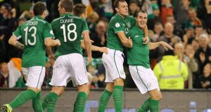 John O'Shea scores: what's seldom is beautiful. Photograph: Cathal Noonan/Inpho
