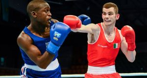 Ireland's Adam Nolan exchanges punches with Souleymane Cissokho of France during their 69kg bout at the AIBA World Boxing Championships in Almaty, Kazakhstan. Photograph: Paul Mohan/Sportsfile