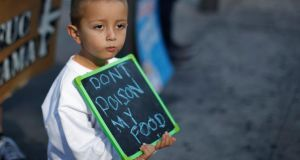A child at a March Against Monsanto in Los Angeles, California, last week. Photograph: Lucy Nicholson/Reuters