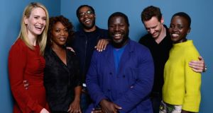 Don't laugh if you've heard this one before: Michael Fassbender with fellow 12 Years a Slave actors and their director, Steve McQueen. Photograph: Larry Busacca/Getty