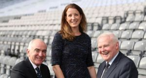 Target McConnells executive chairman Gary Brown, Amie Peters, head of direct mail at An Post and Cooley Distillery founder Dr John Teeling, pictured ahead of the An Post Grow Your Business conference in Croke Park