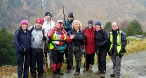 The group hiking in the Glenmalure valley in Co Wicklow.