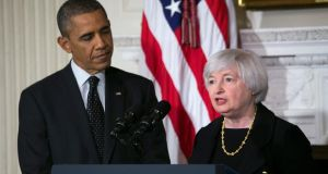 President Barack Obama  with Janet Yellen at the White House in Washington last week. Photograph: The New York Times