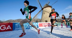 Fionnuala Britton on her way to defending her European Cross Country title in, Szentendre, Budapest, Hungary, last year. Britton has just returned from a three-week training camp at Font Romeu, in the French Pyrenees, and is back in action in the Phoenix Park on Sunday. Photograph: Inpho