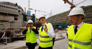 British chancellor of the exchequer George Osborne (centre ) visits the Taishan nuclear power plant in southern China. Photograph: Bobby Yip/Getty Images
