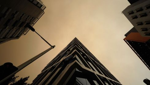 The hazy view overhead in the Sydney Central Business District. Photograph: Brett Hemmings/Getty Images