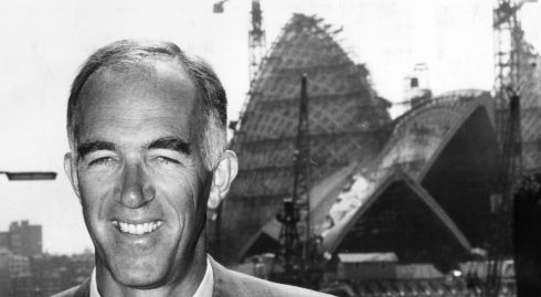 A shot of Danish architect Jorn Utzon in front of the Sydney Opera House during its construction, circa 1965. Photograph: Keystone/Getty Images
