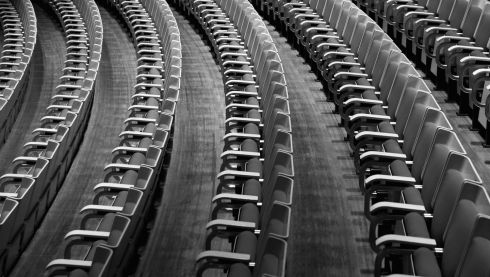Symmetry of the white birch seats of the concert hall. Photograph: Cameron Spencer/Getty Images