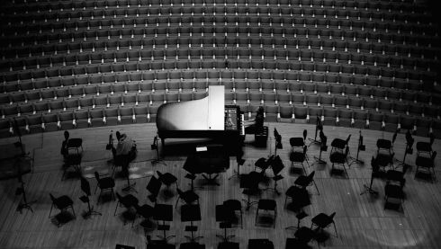 Having a bash on the grand piano. Photograph: Cameron Spencer/Getty Images