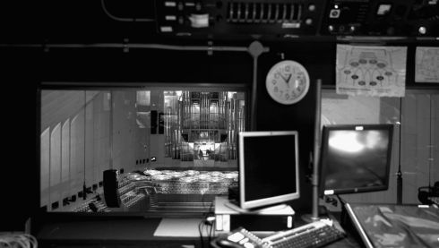 The view of the concert hall from the audio-visual control room. Photograph: Cameron Spencer/Getty Images