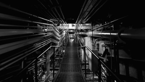 A catwalk accessing a horde of power and lighting pipelines. Photograph: Cameron Spencer/Getty Images