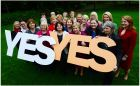Female members of the Oireachtais calling for a Yes vote in the Children's Referendum in October last year. The Supreme Court found the Government acted unlawfully in spending ¤1.1 million of public monies on a one-sided information campaign on the referendum. Photograph: Bryan O'Brien/The Irish Times