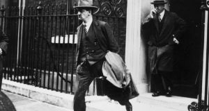 Michael Collins (1890-1922) leaving 10 Downing Street, London, during treaty negotiations. Photograph: Hulton Archive