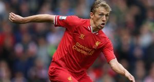 Liverpool's Brazilian midfielder Lucas Leiva is looking to become the Brazilian with the most Premier League games to his name. Photograph: Clive Brunskill/Getty Images
