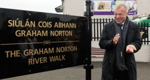 Graham Norton officially opened the Graham Norton Riverwalk in his hometown of Bandon, Co. Cork today.