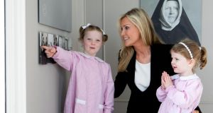 Mount Anville past pupil, actor Alison Doody, with Jessica Carroll (5) and Ellie Enright (3), pupils of Mount Anville Montessori Junior School, at the launch of Hearts + Minds, an exhibition at Mount Anville House marking 160 years of Sacred Heart education in Ireland. Photograph: Shane O'Neill/Fennells