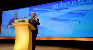 Alex Salmond makes his keynote speech at the SNP Autumn Conference today in Perth,  Scotland. Photograph:  Mark Runnacles/Getty Images