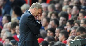 Manchester United manager David Moyes shows his dejection during the  Premier League match against Southampton  at Old Trafford. Photograph: Martin Rickett/PA