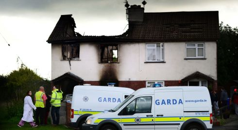 The scene on Monday morning  of a house fire  overnight in Monastery Grove,  Enniskerry, Co. Wicklow  in which a woman died and two of her children were injured . Photo: Bryan O'Brien / THE IRISH TIMES