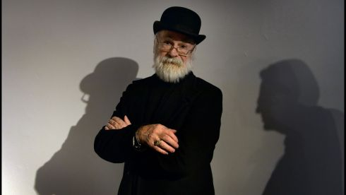 Terry Pratchett  author of Discworld  photographed at the Science Gallery at the launch of his animated feature The Dual. Photo: Brenda Fitzsimons / THE IRISH TIMES