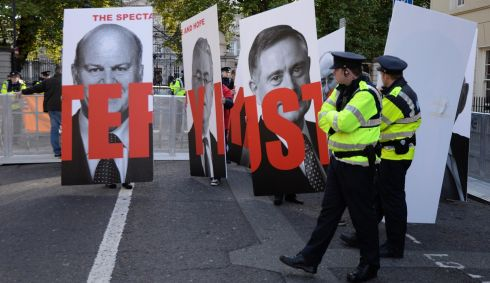 Protesters gathering  outside Leinster House  ahead of the Budget announcement on Tuesday. Photo: Dara Mac Dónaill / THE IRISH TIMES