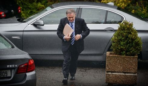 Minister for Public Expenditure & Reform Brendan Howlin dodges the raindrops as he arrived at  the RTE Radio 1 studio, for  the post Budget Today with Sean O'Rourke programme on Wednesday..  Photo: Eric Luke / THE IRISH TIMES