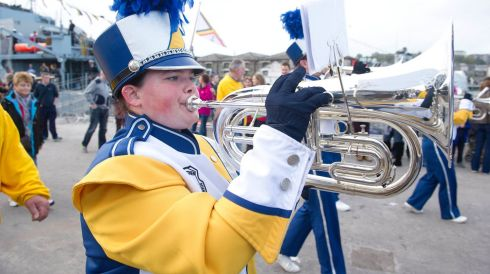 Competitors in the International Marching Bands event in Cork over the weekend. Photo :  Gerard McCarthy