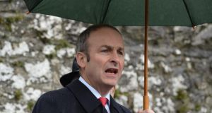Micheal Martin leader of Fianna Fail giving his oration  during Wolfe Tone Commemoration ceremony at Bodenstown Cemetery, Co Kildare. Photograph: Cyril Byrne / The Irish Times